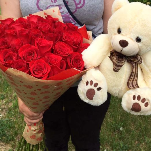 25 роз Эквадор и мишка: букеты цветов на заказ Flowwow