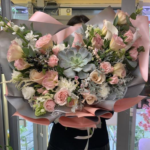 Премиум букет с суккулентом: букеты цветов на заказ Flowwow
