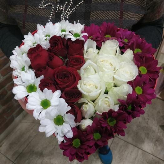 Коробка сердце 2: букеты цветов на заказ Flowwow