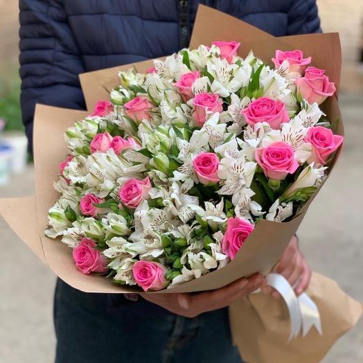 Микс из роз и альстромерий (49 шт): букеты цветов на заказ Flowwow