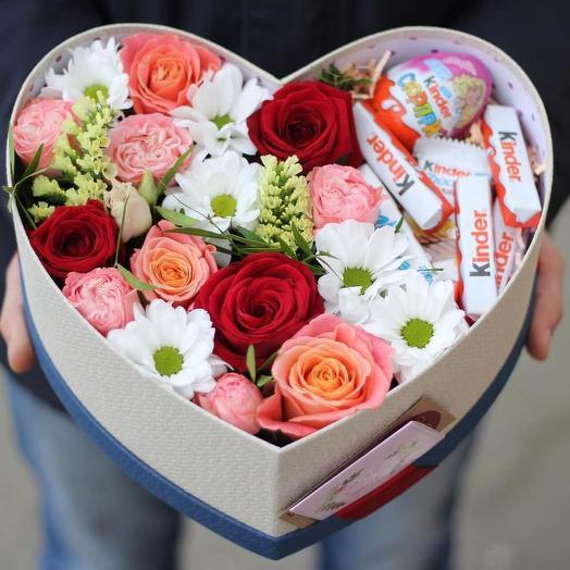 Сердце с Kinder: букеты цветов на заказ Flowwow