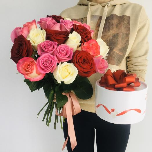 Букет из  25 роз и конфет Рафаэлло