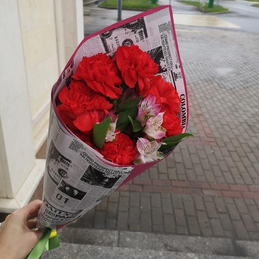С уважением, гвоздики: букеты цветов на заказ Flowwow