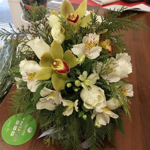 """Керамическое кашпо """"Летняя прохлада: букеты цветов на заказ Flowwow"""