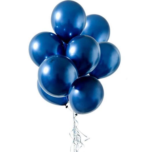 Каскад из 9 синих хромовых шариков
