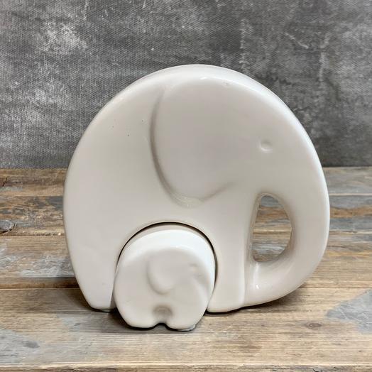 Белая интерьерная композиция «слоны»