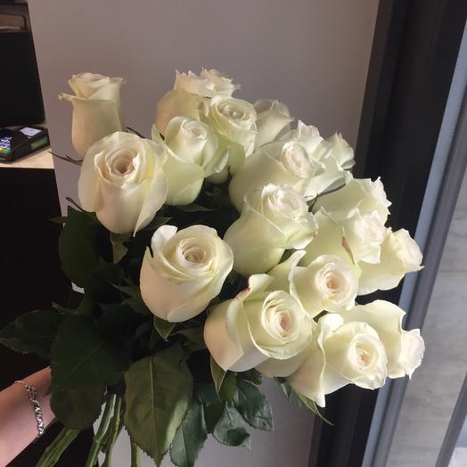 19белых роз Эквадор 60-80см