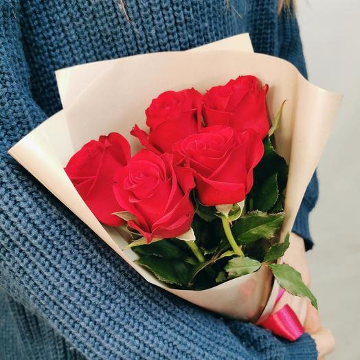 Роза 40 см красная 5
