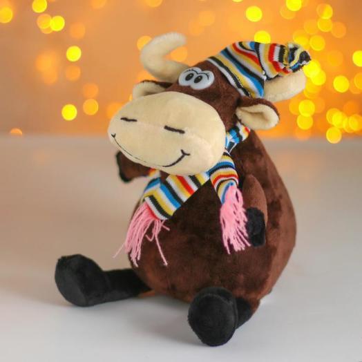 Мягкая игрушка «Бычок в шапке», 15 см, цвет коричневый