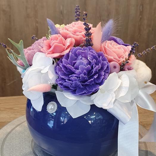 Цветы из мыла с веточками лаванды