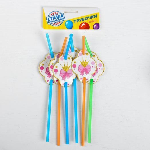 Трубочки для коктейля «Маленькая мисс», набор 6 шт., цвета