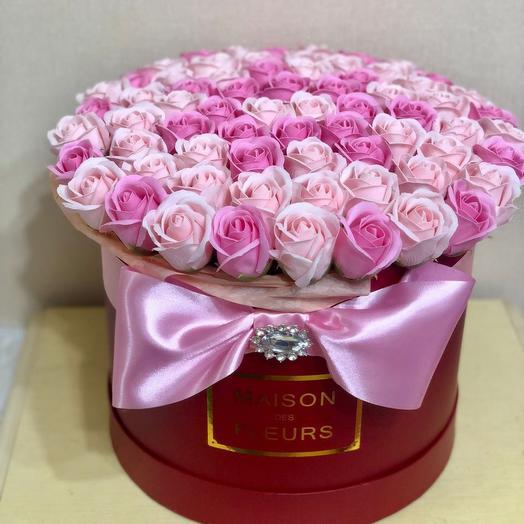 Огромный букет мыльных роз. Цветы из мыла. Букет из мыла в коробке