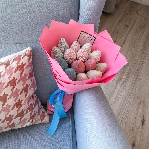 Three pink chocolates