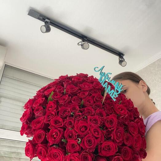 51 красная роза 60см