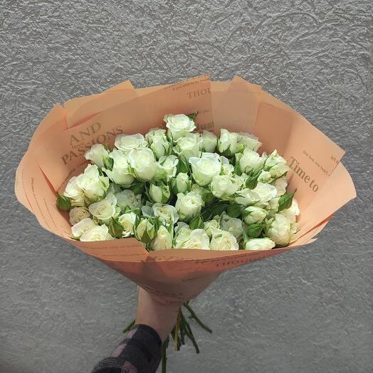 Белые Кустовые Розы 15 шт