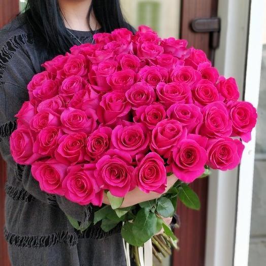 Букет из 51 розовой голландской розы 50 см: букеты цветов на заказ Flowwow