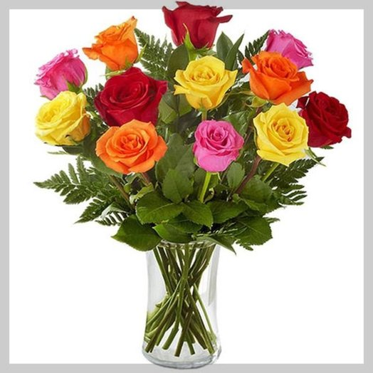Букет Все грани любви из разноцветных роз Код 160133