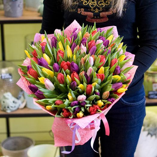 """Букет из тюльпанов """"Разноцветные тюльпаны микс"""""""