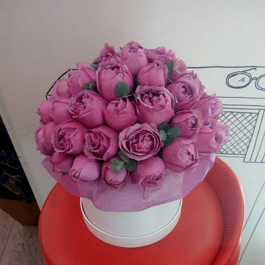 Коробка пионовидных роз: букеты цветов на заказ Flowwow