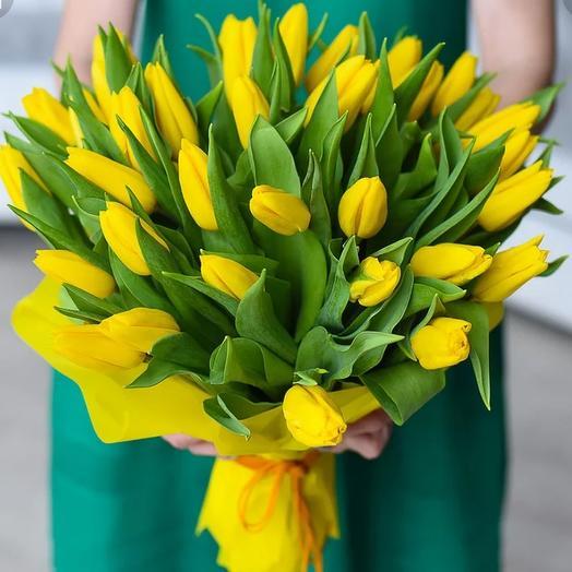 Желтые тюльпаны. Яркий букет: букеты цветов на заказ Flowwow