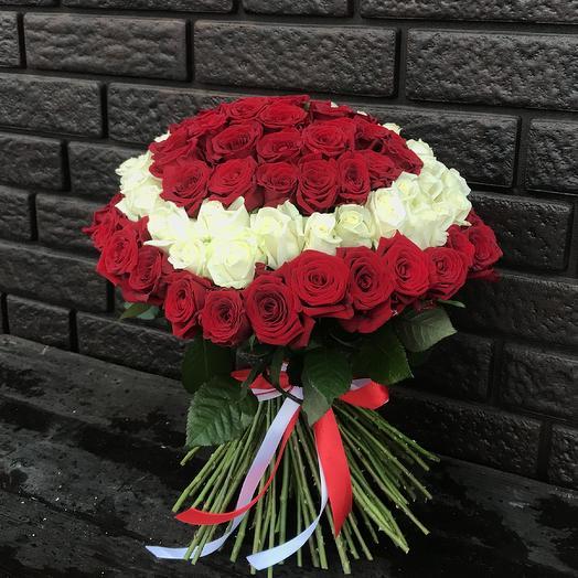 101 роза в форме сердца: букеты цветов на заказ Flowwow