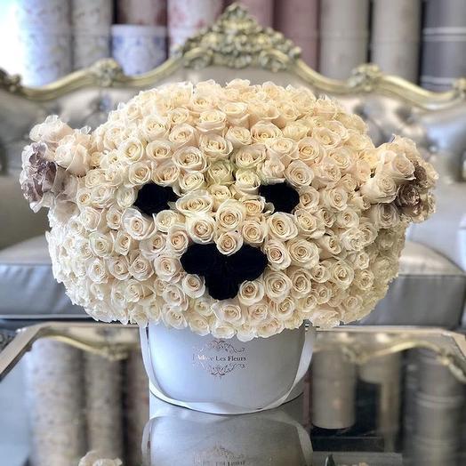 Композиция «Мишка из роз»: букеты цветов на заказ Flowwow