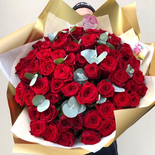49 роз с эвкалиптом: букеты цветов на заказ Flowwow