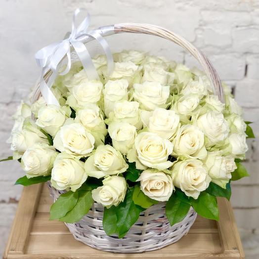 Basket of 51 white roses