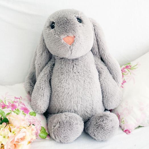Заяц Лесли 65 см серый: букеты цветов на заказ Flowwow