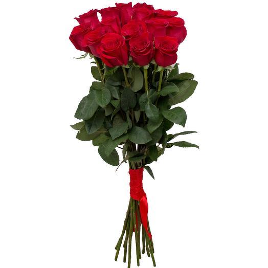 Букет 15 красных роз 80см