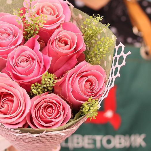 Букет из 7 розовых роз 50 см (Эквадор) Хермоса с зеленью Грин Белл