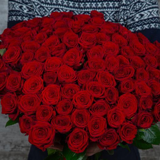 Букет из 101 красной розы, длина 60 см: букеты цветов на заказ Flowwow