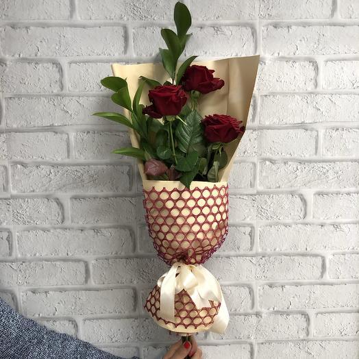 Бархатное трио: букеты цветов на заказ Flowwow