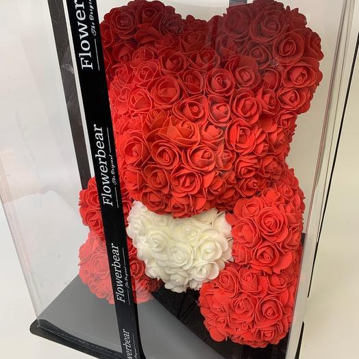 Мишка из красных роз: букеты цветов на заказ Flowwow