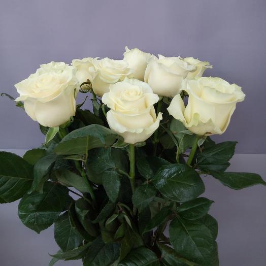9 белых роз 70см