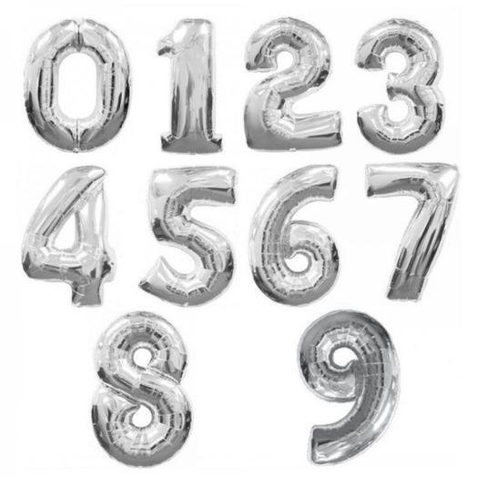 "Шар с клапаном мини-цифра «Серебро» 16""/41 см"