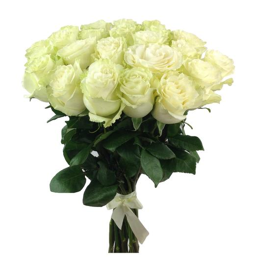 Охапка 25 белых роз Мондиаль 60 см