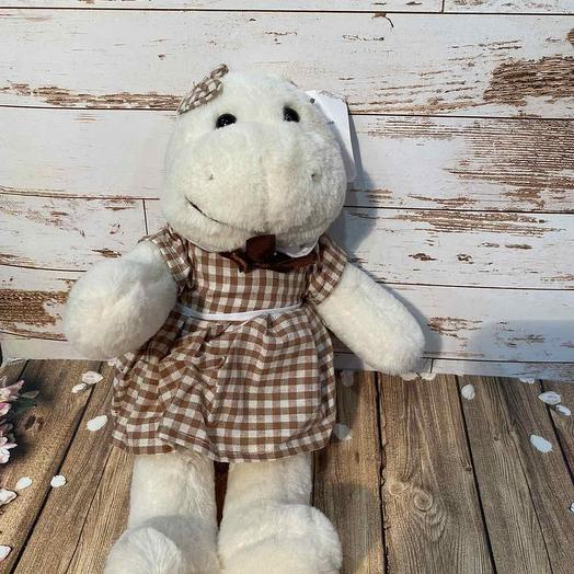 Hippo in a plaid dress