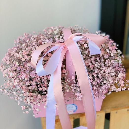 Цветы в коробке Розовые мечты