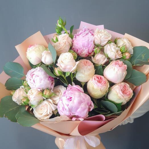 Peonies and peony-shaped roses