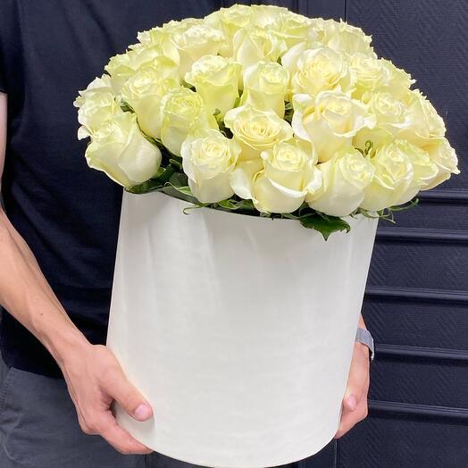 51 эквадорская белая роза в шляпной коробке