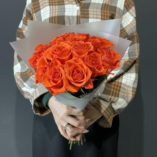 Букет из 15 роз 40см цвета кирпич