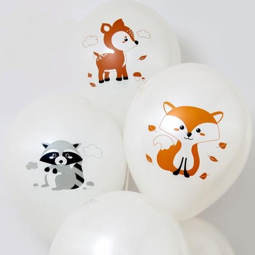 Набор шаров с днем рождения лесные зверя в 3 шт