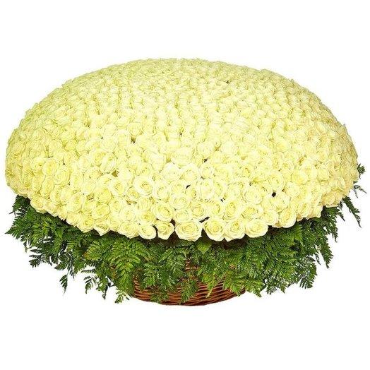 Белые розы (501) в корзине с зеленью
