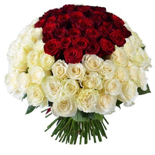 Букет из 71 бело-розовых розы: букеты цветов на заказ Flowwow