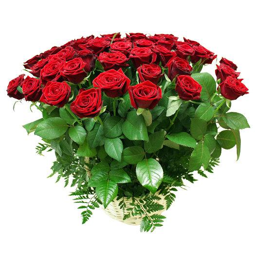 Корзина Восхищение 51 роза 50 см: букеты цветов на заказ Flowwow