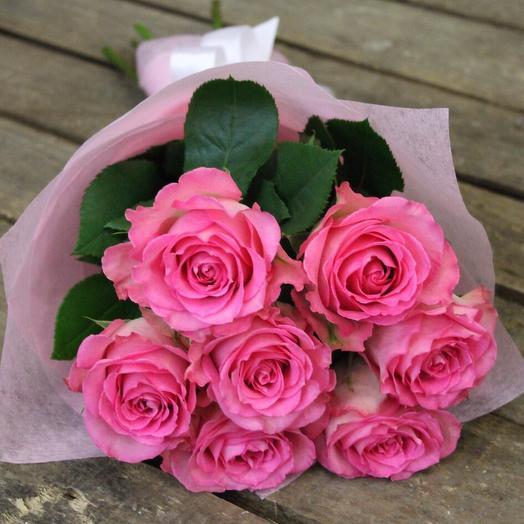 Букет из 7 розовых роз: букеты цветов на заказ Flowwow