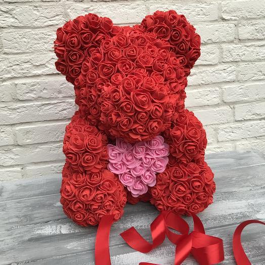 Мишка из Роз 40 см: букеты цветов на заказ Flowwow