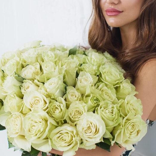 Белоснежные большие розы: букеты цветов на заказ Flowwow
