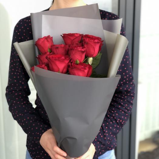 9 премиальных роз: букеты цветов на заказ Flowwow
